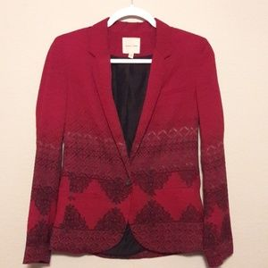 Red Patterned Blazer - Urban Outfitters